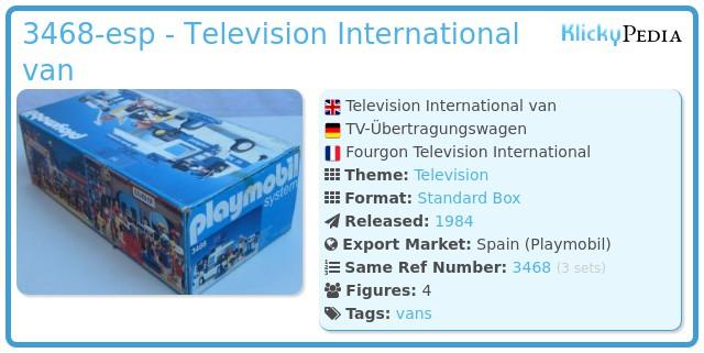 Playmobil 3468-esp - Television International van