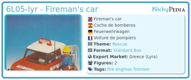 Playmobil 6L05-lyr - Fireman's car