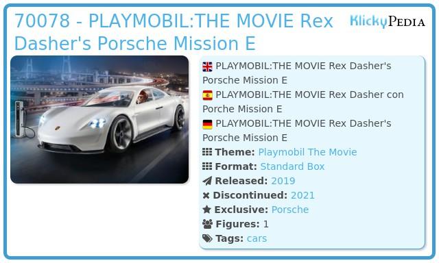 Playmobil 70078 - PLAYMOBIL:THE MOVIE Rex Dasher's Porsche Mission E