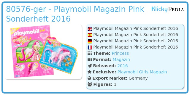 Playmobil 80576-ger - Playmobil Magazin Pink Sonderheft 2016
