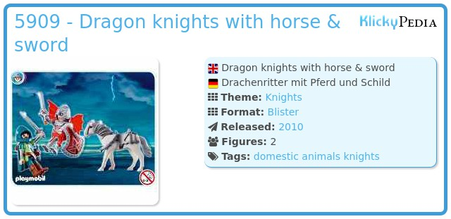 Playmobil 5909 - Dragon knights with horse & sword