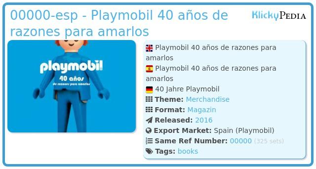 Playmobil 00000-esp - Playmobil 40 años de razones para amarlos