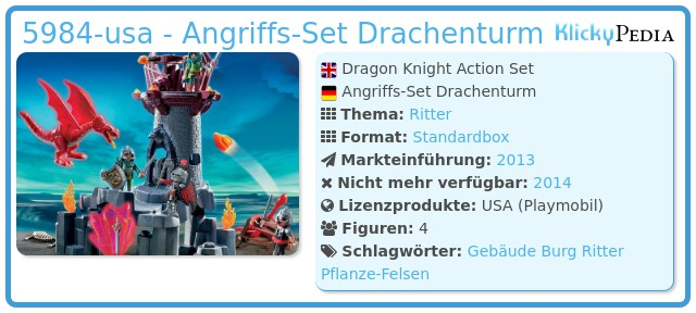 Playmobil 5984-usa - Angriffs-Set Drachenturm