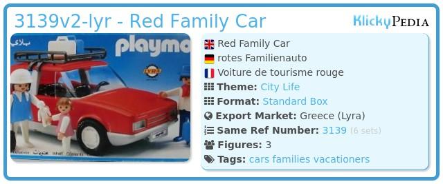 Playmobil 3139v2-lyr - Red Family Car
