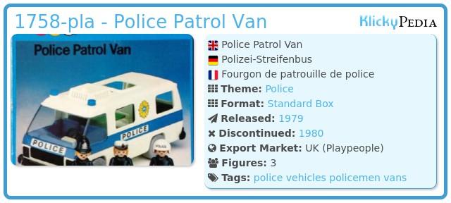 Playmobil 1758-pla - Police Patrol Van
