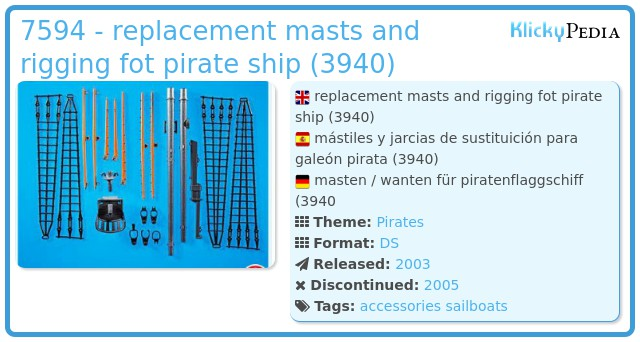 Playmobil 7594 - replacement masts and rigging fot pirate ship (3940)