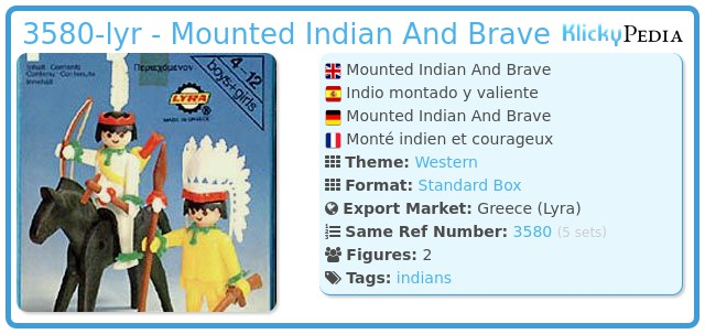 Playmobil 3580-lyr - Mounted Indian And Brave
