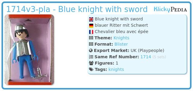 Playmobil 1714v3-pla - Blue knight with sword