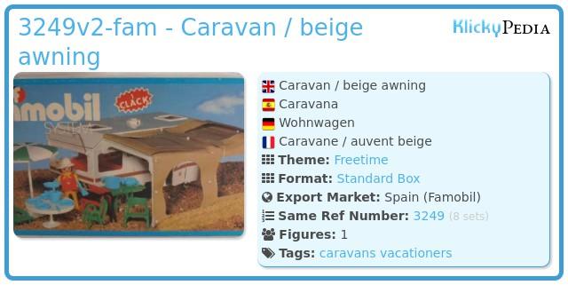 Playmobil 3249v2-fam - Caravan / beige awning