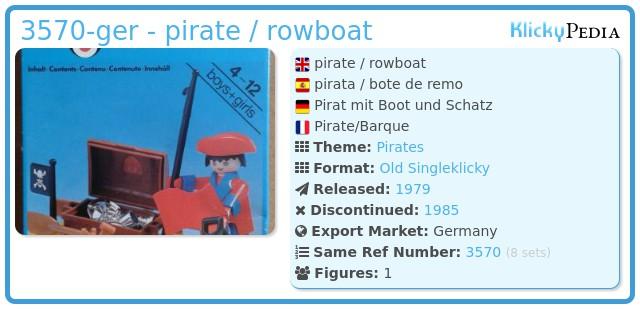 Playmobil 3570-ger - pirate / rowboat
