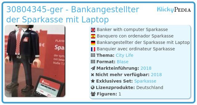 Playmobil 30804345-ger - Bankier mit Computer Sparkasse