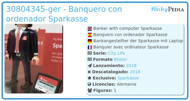 Playmobil 30804345-ger - Banquero con ordenador Sparkasse