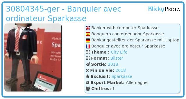 Playmobil 30804345-ger - Banquier avec ordinateur Sparkasse