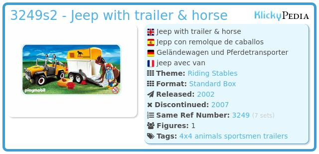 Playmobil 3249s2 - Jeep with trailer & horse