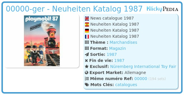 Playmobil 00000-ger - Neuheiten Katalog 1987