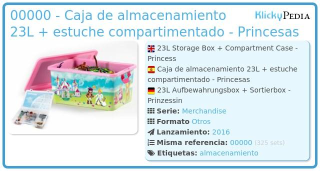 Playmobil 00000 - Caja de almacenamiento 23L + estuche compartimentado -  Princesas