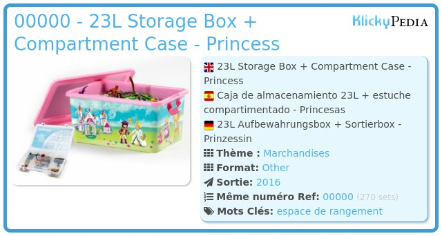 Playmobil 00000 - 23L Storage Box + Compartment Case - Princess