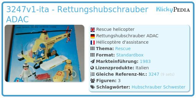 Playmobil 3247v1-ita - Rettungshubschrauber ADAC