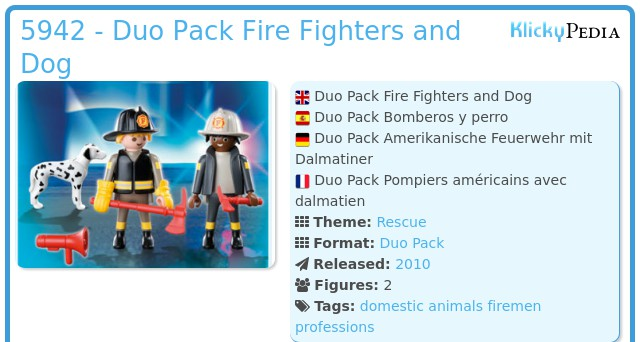 Playmobil 5942 - Fire Fighters and Dog Duo Pack
