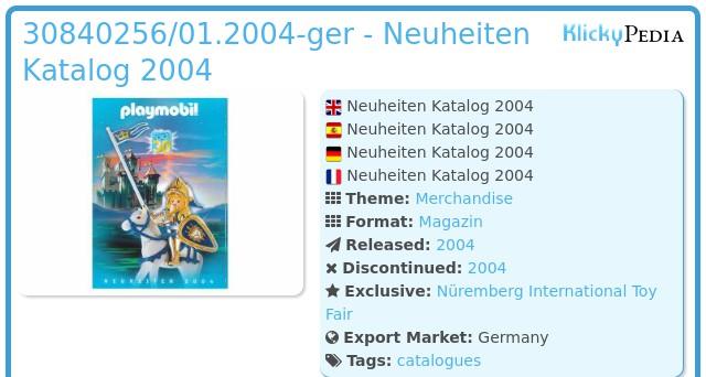 Playmobil 30840256/01.2004-ger - Neuheiten Katalog 2004