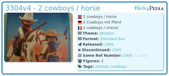 Playmobil 3304v2 - 2 cowboys / horse