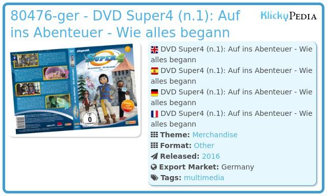 Playmobil 80476-ger - DVD Super4 (n.1): Auf ins Abenteuer - Wie alles begann