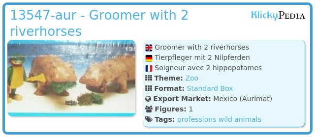 Playmobil 13547-aur - Groomer with 2 riverhorses