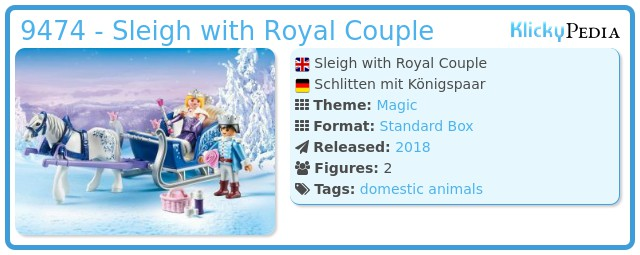 Playmobil 9474 Magic Sleigh avec couple royal