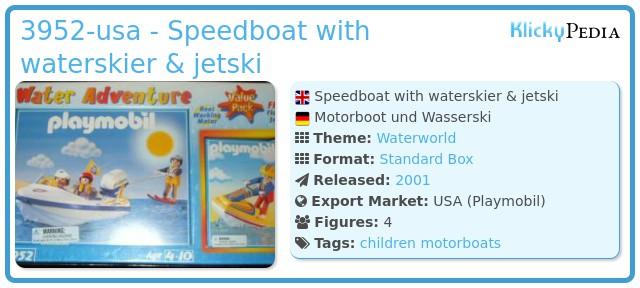 Playmobil 3952-usa - Speedboat with waterskier & jetski