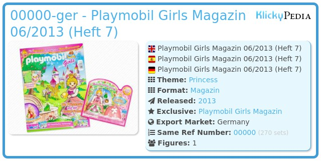 Playmobil 00000-ger - Playmobil Girls Magazin 06/2013 (Heft 7)