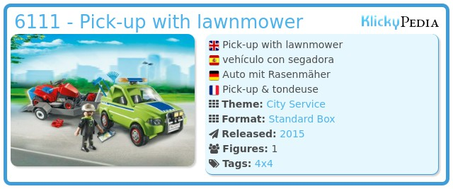 Playmobil 6111 - Pick-up with lawnmower