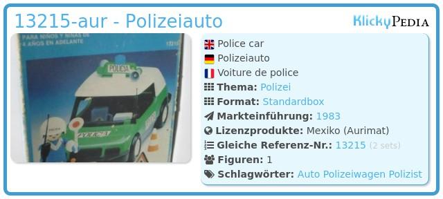 Playmobil 13215-aur - Polizei-Auto