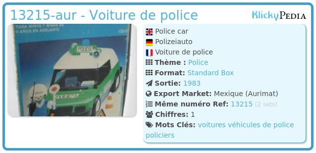 Playmobil 13215-aur - Voiture de police