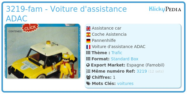 Playmobil 3219-fam - Voiture d'assistance ADAC