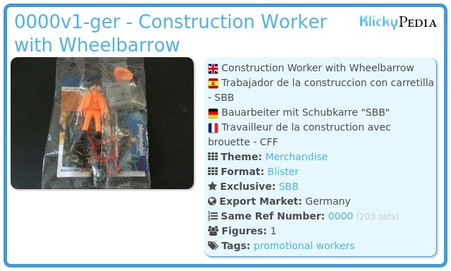 Playmobil 0000v1-ger - Construction Worker with Wheelbarrow