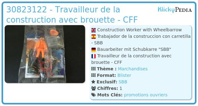 Playmobil 0000v1-ger - Travailleur de la construction avec brouette - CFF