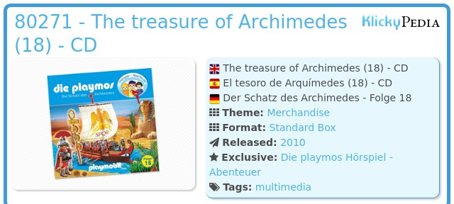 Playmobil 80271 - The treasure of Archimedes (18) - CD
