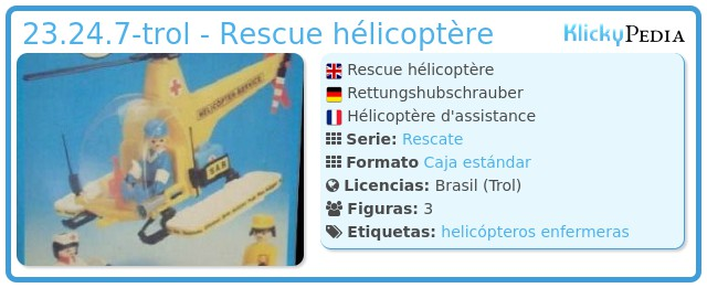 Playmobil 23.24.7-trol - Rescue hélicoptère