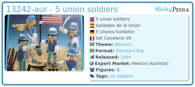 Playmobil 13242-aur - 5 union soldiers