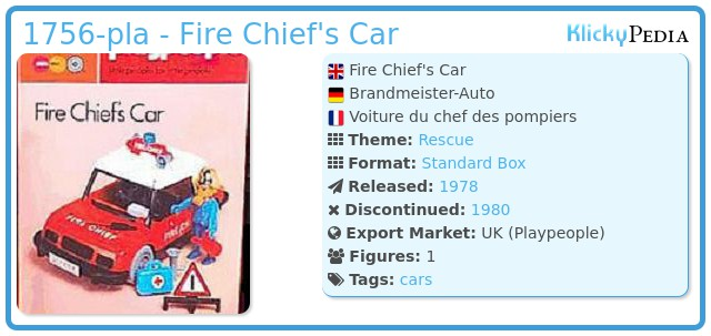 Playmobil 1756-pla - Fire Chief's Car