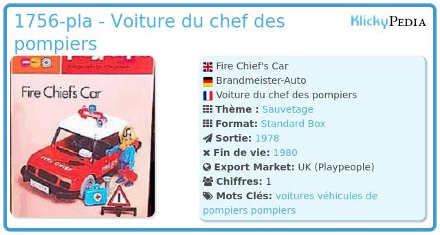 Playmobil 1756-pla - Voiture du chef des pompiers