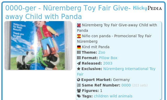 Playmobil 0000-ger - Nüremberg Toy Fair Give-away Child with Panda