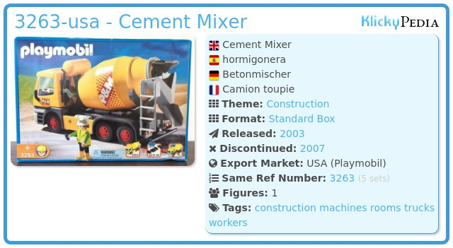 Playmobil 3263-usa - Cement Mixer