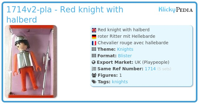 Playmobil 1714v2-pla - Red knight with halberd