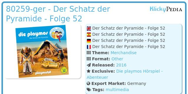 Playmobil 80259-ger - Der Schatz der Pyramide - Folge 52