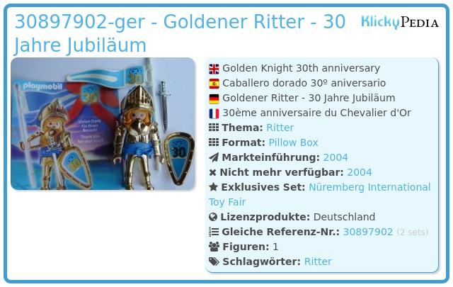 Playmobil 30897902-ger - 30. Jahrestag des Goldenen Ritters
