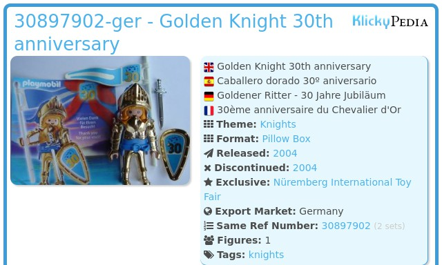 Playmobil 30897902-ger - Golden Knight 30th anniversary