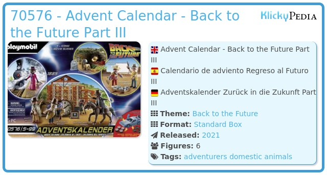 Playmobil 70576 - Back to the Future Part III Advent Calendar