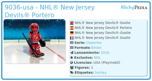 Playmobil 9036-usa - NHL® New Jersey Devils® Portero