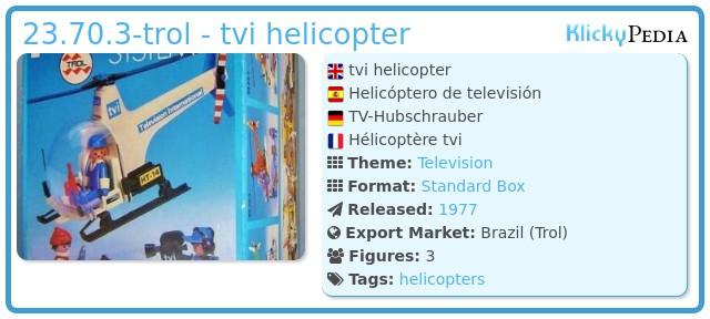 Playmobil 23.70.3-trol - tvi helicopter